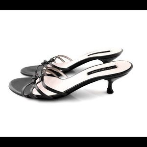 Sergio Rossi 38.5 Open Toe Sandals Charcoal Gray